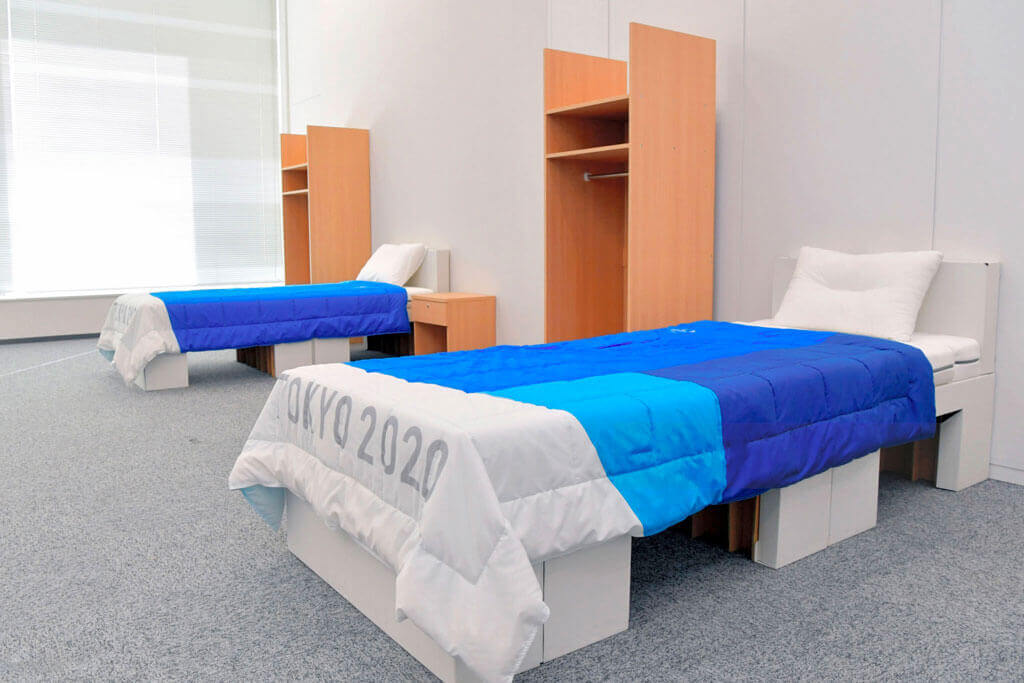 image showing the tokyo olympics 2020 is using cardboard beds for their athletes | Agrrro