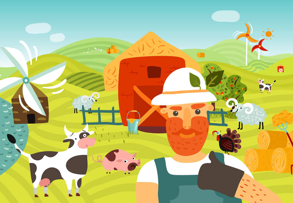illustration showing old mcdonald living with his animals in his farm | Agrrro