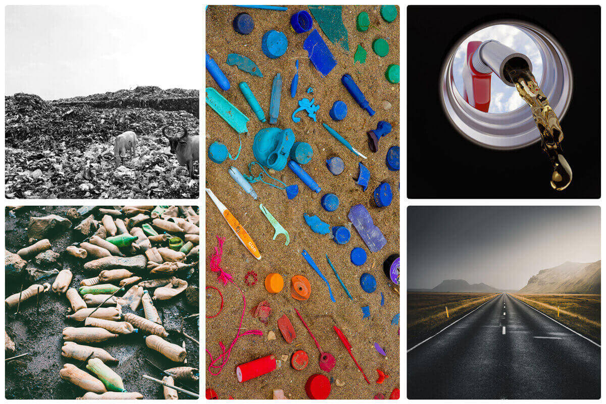 cows eating plastic in the dump | waste water bottles | broken plastic pieces | liquid fuel | the road made of plastic waste | Agrrro